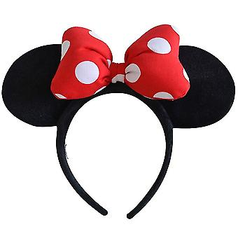 1pc Red Headdress Head Hoop Mickey Minnie Mouse Ears Girls Hair Bands Head Hoop Plush Toys Bag