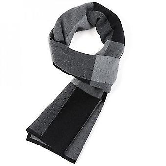 Warm Winter Scarf Men Autumn Elegant Plaid Scarf Gentleman(Black And Grey)