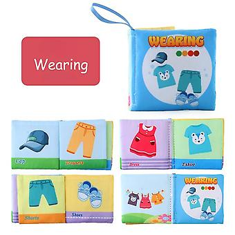 Infant Early Learning Educational Toys Children's Fabric Book 2-6 Years Old Children's English Cognitive Book-(wearing)