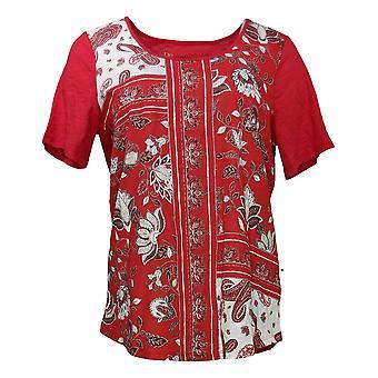DG2 van Diane Gilman Women's Top Multi Print Front Short Sleeve Red 645401
