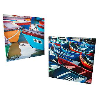 Pair of Colorful Boats Printed Canvas Wall Art
