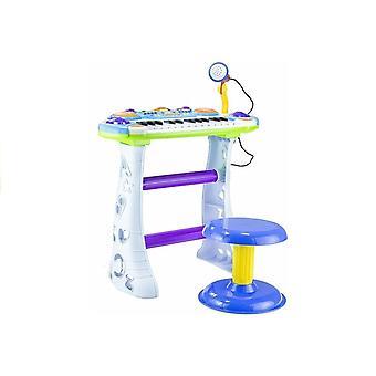 Kindertastatur - mit Mikrofon und Stuhl - 48 cm - Blau