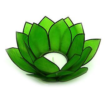 Jade Green Capiz Shell Lotus Flower Small Tealight Candle Holder