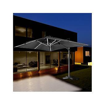 """Parasol de jardin LED Alu """"Sun 3 Luxe"""" - Cuadrado -  3 x 3 m - Negro"""