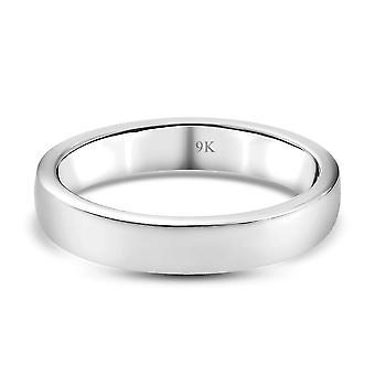 TJC 9K Weißgold Ehering für Damen in glänzender Ausführung (M)