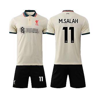 Liverpool Away Light Yellow Shirt No.11 Mohamed Salah Match Football Jersey