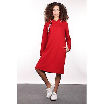 Rød glidelås med hette detaljert lang grunnleggende genser