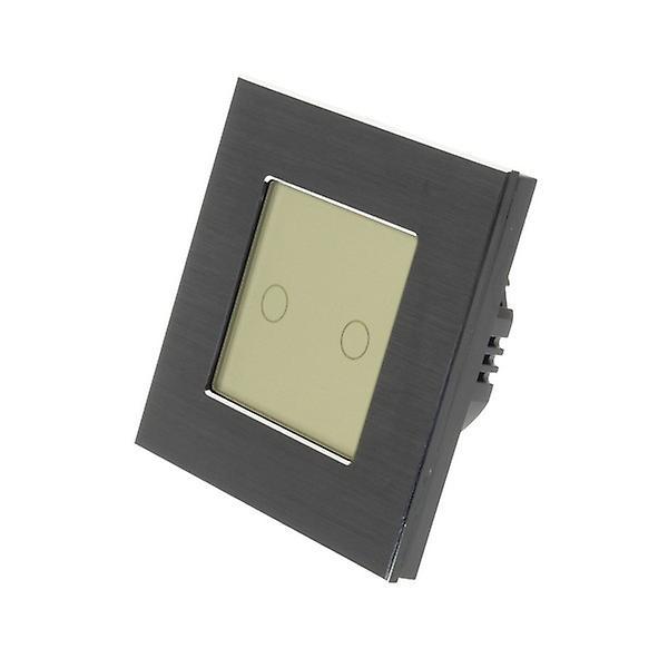 I LumoS Black Brushed Aluminium 2 Gang 1 Way Touch Dimmer LED Light Switch Gold Insert