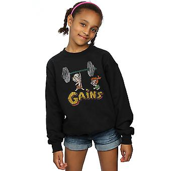 The Flintstones Girls Bam Bam Gains Distressed Sweatshirt