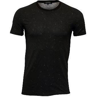 Ermenegildo Zegna preto fantasia Stretch Cotton gola camiseta, preto