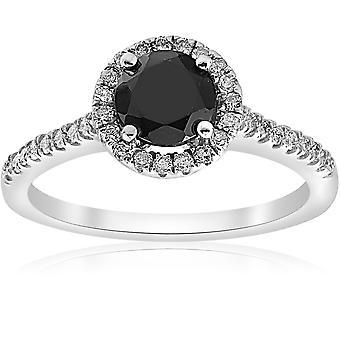 1 1/3 ct svart & vit Halo diamant förlovningsring 14k vitguld
