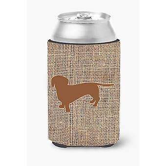 Dachshund Burlap and Brown Can or Bottle Beverage Insulator Hugger