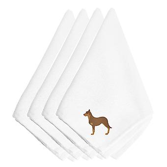Australian Kelpie Dog Embroidered Napkins Set of 4