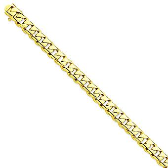 14k Yellow Gold 10mm Hand polished Rounded Curb Chain Bracelet Jewelry Gifts for Women - Length: 8 to 9