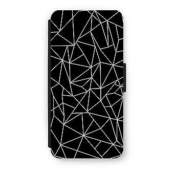 iPhone 5/5 s/SE Flip Case - geometrischen Linien weiß