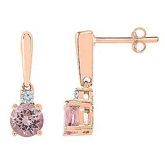 10K Rose Pink Gold 3/8 Carat (ctw) Lab Created Morganite Dangle Earrings