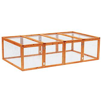 Pawhut 6ft Outdoor Wooden Rabbit Hutch Cage with Wire Mesh Safety Run and Play Space 181 x 100 x 48 cm