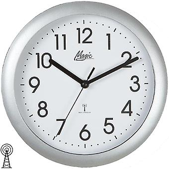 Wall clock radio radio controlled wall clock analog silver round plain 25 cm ø