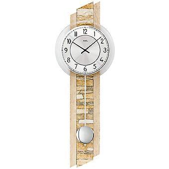 AMS 7423 væg ur kvarts med pendul træ Sonoma optik med naturlige sten pendul ur