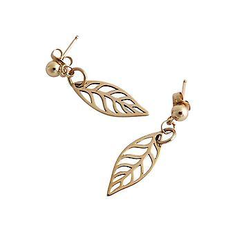 Blad øreringe bronze øreringe lagen bronze Guld belagte blad øreringe
