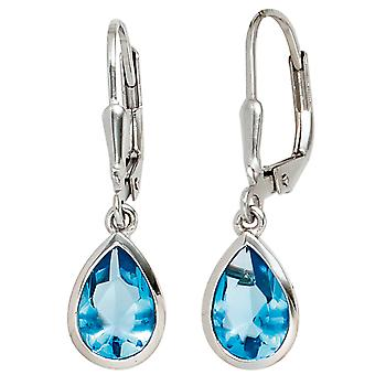 Knappar 925 rodierat sterling silver 2 cubic zirconia blue örhängen