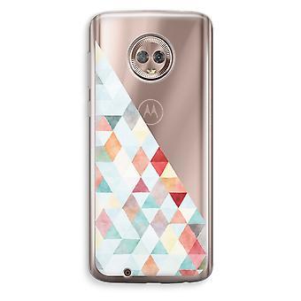 Motorola Moto G6 transparant Case (Soft) - gekleurde driehoeken pastel