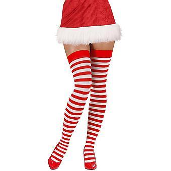 Kousen en been accessoires knie kousen gestreept rood wit