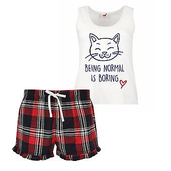 Gatto essendo normale è noioso pigiama corto donna Tartan Frill Set rosso blu o verde blu