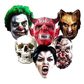 Halloween Card Fancy Dress Masks Set of 6 (Evil Clown, Skull, Vampire, Zombie, Werewolf and The Devil)