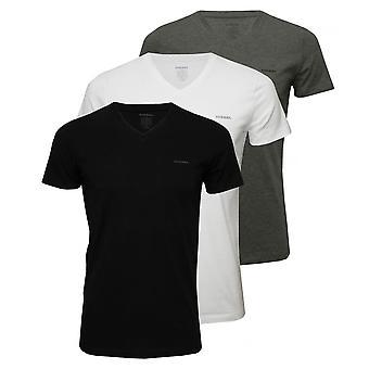 Diesel 3-Pack The Essential V-Neck T-Shirts, Black/White/Grey