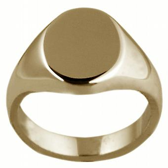9ct Gold 13x10mm solid plain oval Signet Ring Size W