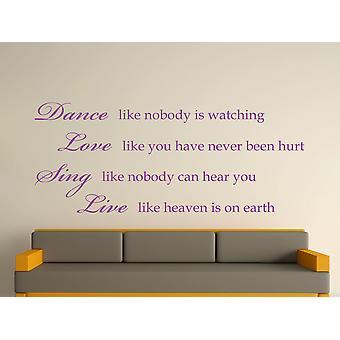 Danza como nadie está mirando la etiqueta de la pared arte - púrpura