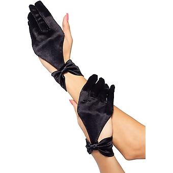 Gloves Satin Cut Out Blk