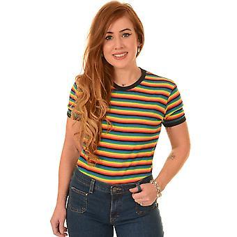 Run & Fly Retro Rainbow Brights Striped T Shirt