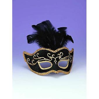 Połowę stylu maska Bk W Gold przyciąć V