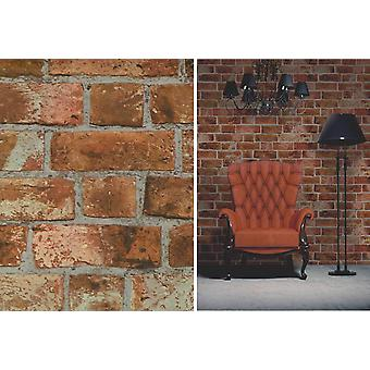 Fine Decor Natural Rustic Brick Red Brown Feature Wallpaper
