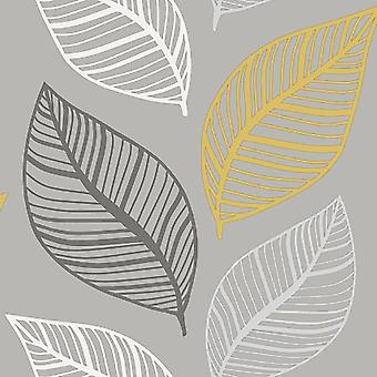 Large Leaf Floral Wallpaper Yellow Charcoal Crown Silver Metallic Glitter Effect