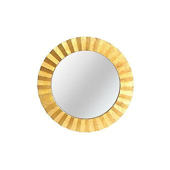 80x80cm Round Gold Leaf Effect Mirror Wall Hanging
