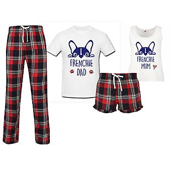 Frenchie Mum Frenchie Dad Couples Matching Pyjama Tartan Set