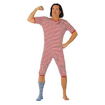 Badeanzug garngefärbt rot/weiss Streifenanzug Anno Kostüm für Herren