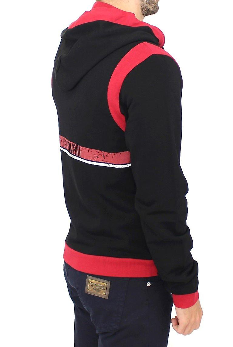 Red zipper hooded cotton sweater
