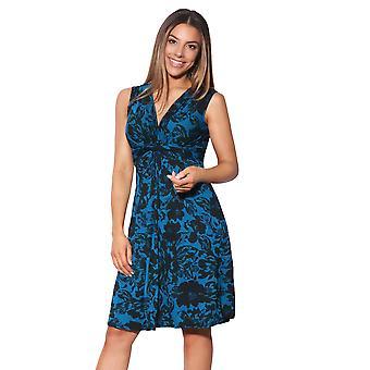 KRISP Womens Gerüste Mini Kleid Drape Retro Stretch Twist Knoten Front Krawatte Gürtel