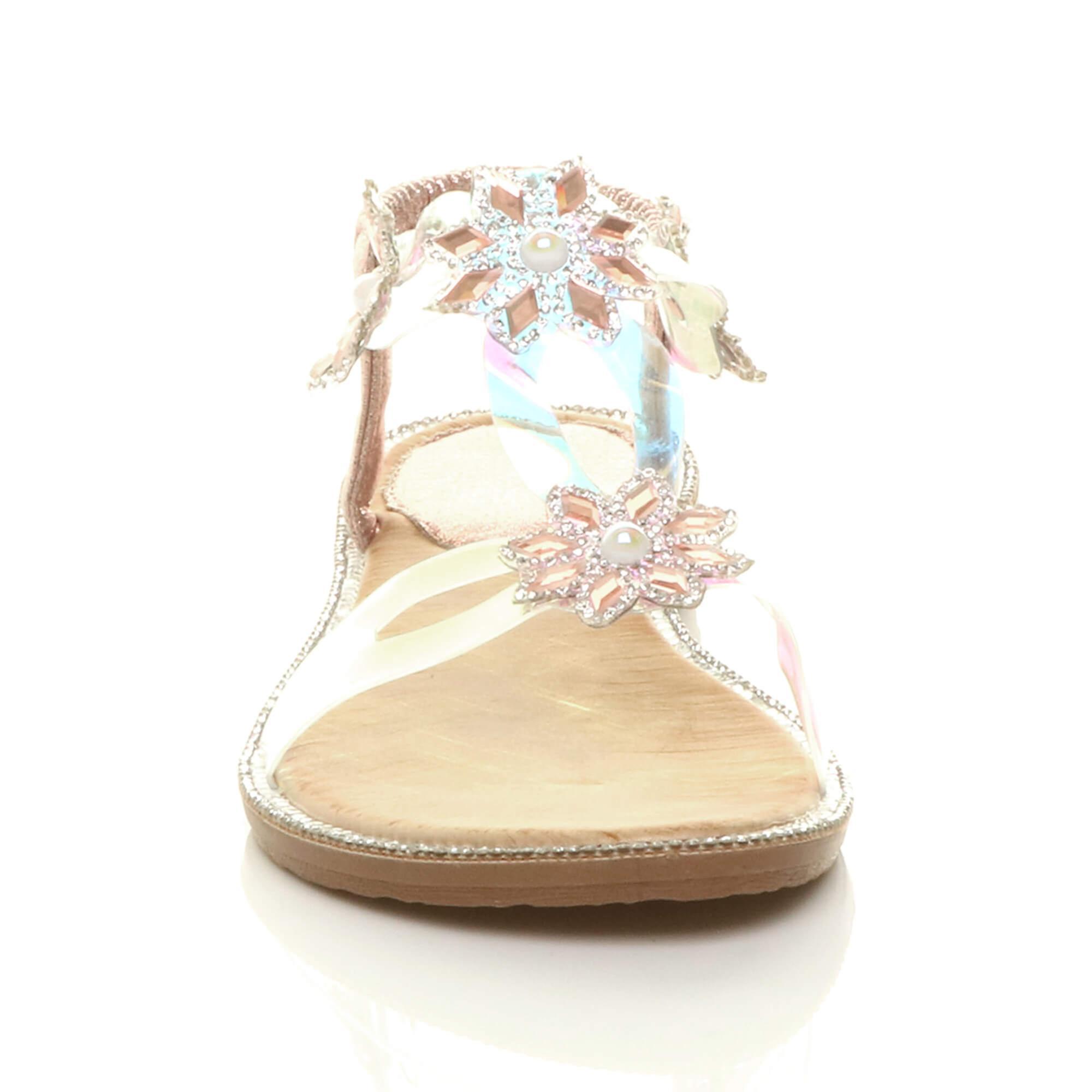 Ajvani Womens flat diamante perle perdrex slingex slingback sandales t-bar - Remise particulière