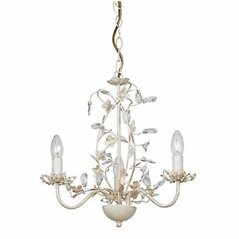 3 Light Multi Arm Ceiling Pendant Clear, Cream With Brushed Gold, Pearl Effect Acrylic