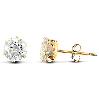 Jewelco London 9ct Yellow Gold White Round Brilliant Cubic Zirconia 6 Claw Solitaire Stud Earrings, 5mm