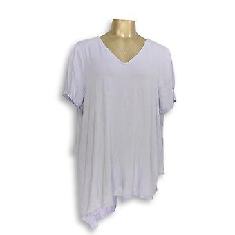 Lisa Rinna collectie vrouwen ' s top V-hals top w/chiffon paars A303168