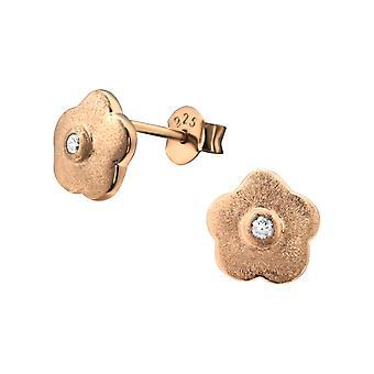 Blomst - 925 Sterling sølv Cubic Zirconia øret knopper - W22848x