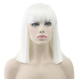 Syntetisk parykk/kort straight/Platinum Blonde #white