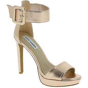 Steve Madden platform ankle strap sandals heels in pink gold faux leather