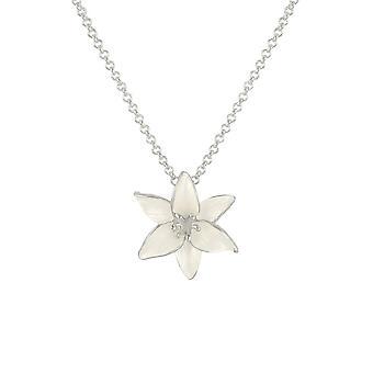 الأبدية جمع ليلى الأبيض المينا الفضية لهجة قلادة زهرة
